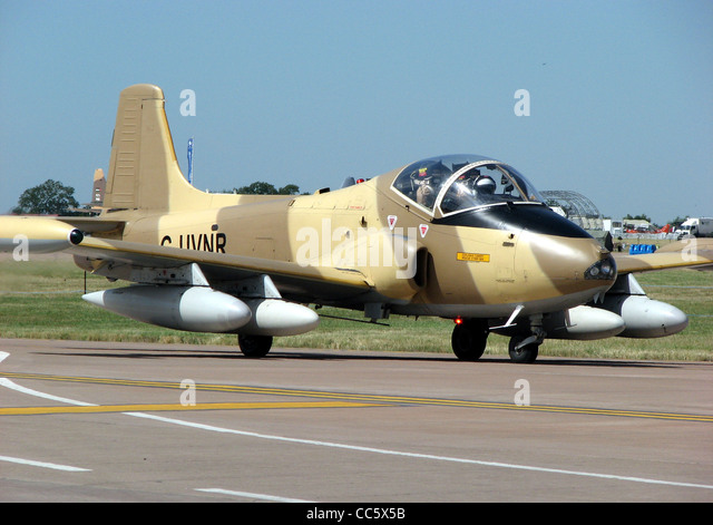 BAC 167 Strikemaster Mk87 (G-UVNR) taxiing for takeoff at the Royal International Air Tattoo, Fairford, Gloucestershire, - Stock Image