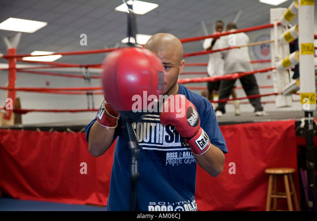 Boxers train for the Olympics at the US Olympic Education Center - Stock Image
