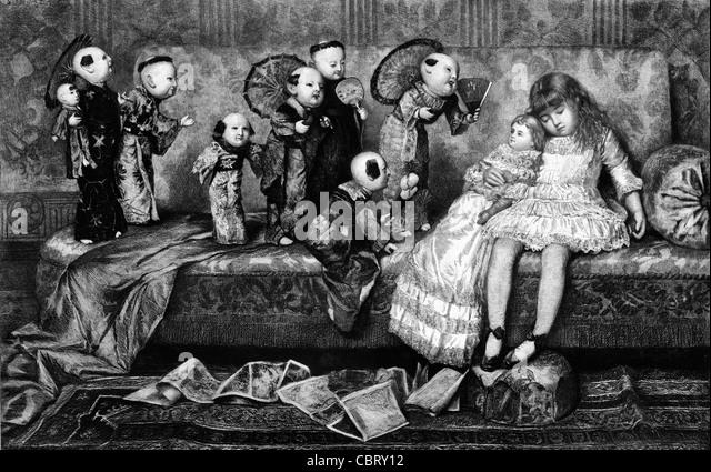 Girl asleep on sofa with dolls coming to life - Vintage print - Stock Image