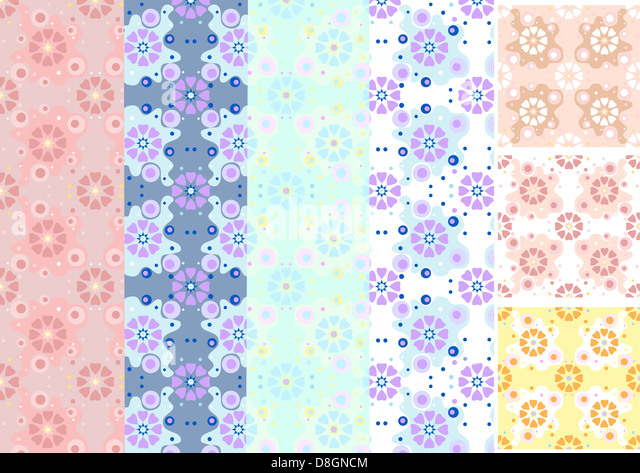 Options shades seamless floral pattern - Stock Image