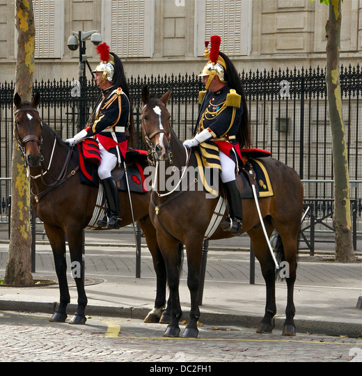 The differences of uniforms, equipment and harness, between a Guard (gendarme, left) and an officer (captain, right), - Stock Image