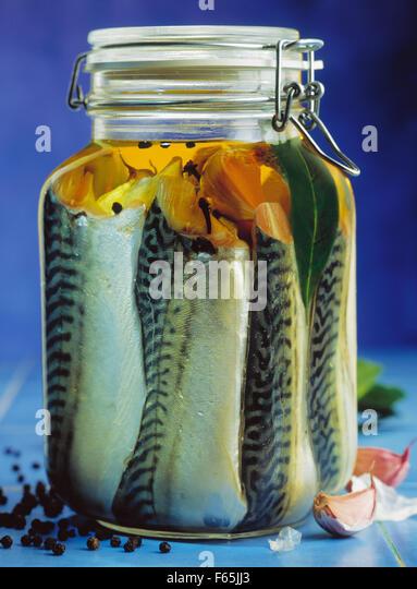 bottled mackerel - Stock Image