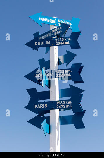 Directional Signs at Signal Hill- St. John's, Avalon Peninsula, Newfoundland, Canada - Stock Image