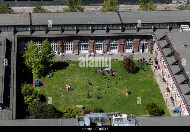 Schoolyard in Turin, Italy - Stock Image
