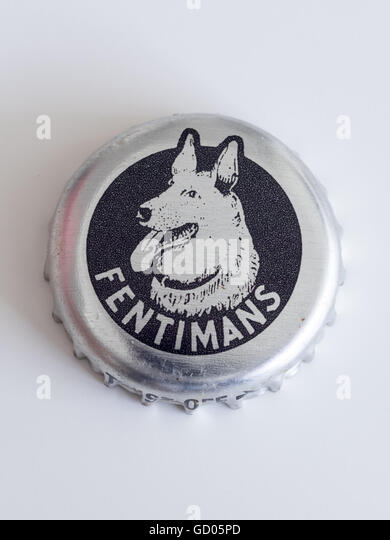 A bottle cap (bottle caps) from a Fentimans soft drink. - Stock Image