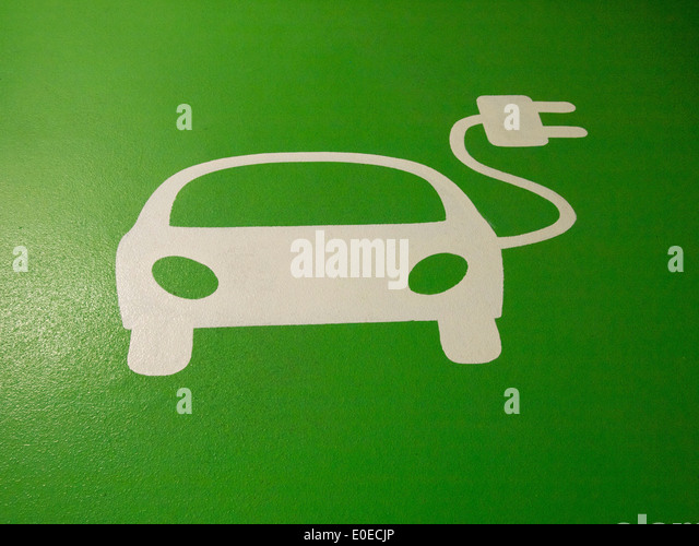 Electric car charging point logo - Stock Image