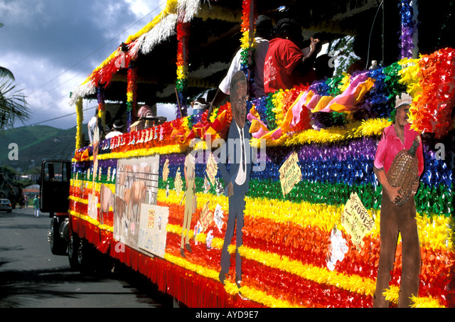 British Virgin Islands Emancipation Festival Bus Made Into Parade Float - Stock Image