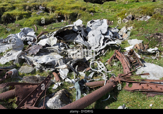 Wreckage from a De Havilland Mosquito F.B Mk.VI TA525 Which Crashed in Cloud 14th February 1946 Castle Bolton Yorkshire - Stock Image