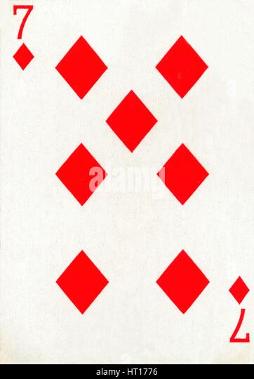 7 of Diamonds from a deck of Goodall & Son Ltd. playing cards, c1940.  Artist: Unknown. - Stock Image