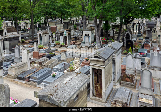 View of Montmartre Cemetery in the 18th Arrondissement, of Paris, France. - Stock Image
