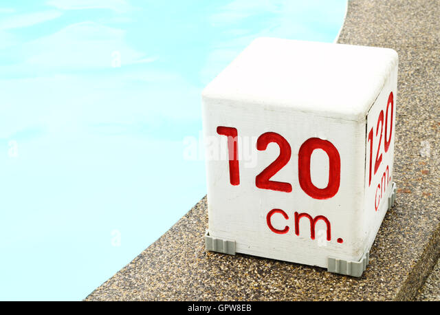 120 cm. water depth sign - Stock Image