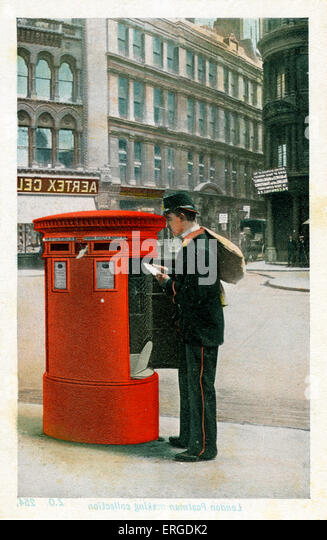 Postman making a collection, London. Postman in Victorian(?) uniform collecting post from a London postbox. - Stock Image