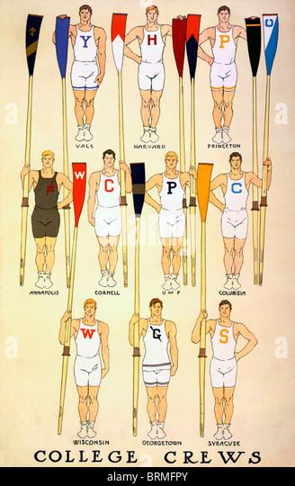 College rowing  crews  - ten men representing various Universities holding oars - Stock Image
