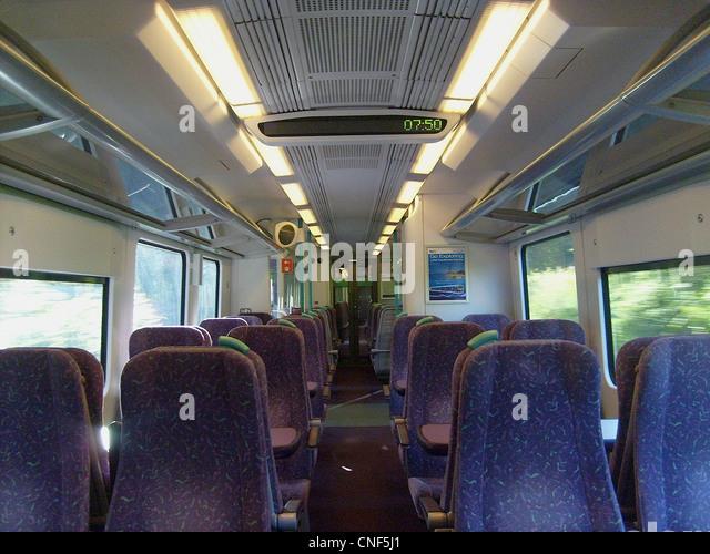 A half internal view of Standard Class aboard the Class 185. - Stock Image