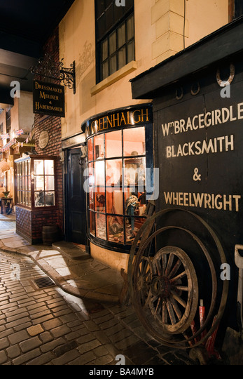 UK England Salford City Museum and Art Gallery Lark Hill Place Blacksmith and dressmakers shops - Stock Image