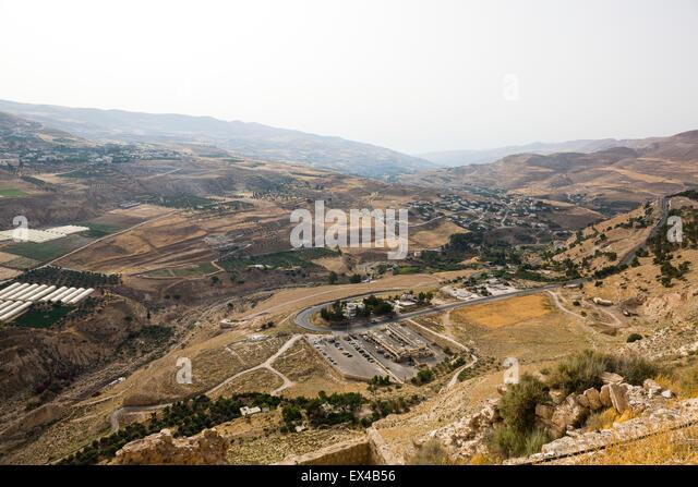 Karak, Jordan. View of the scenery from the town of Karak. - Stock Image