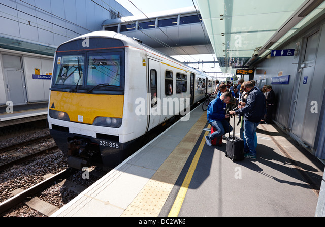 train arriving at london Southend Airport train station Essex UK - Stock Image
