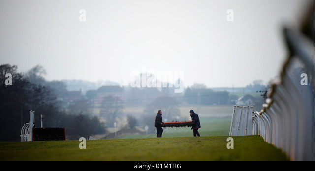 The last meeting at Folkestone Racecourse, Westenhanger, Kent, 18th December 2012. The hurdles course is dismantled - Stock Image