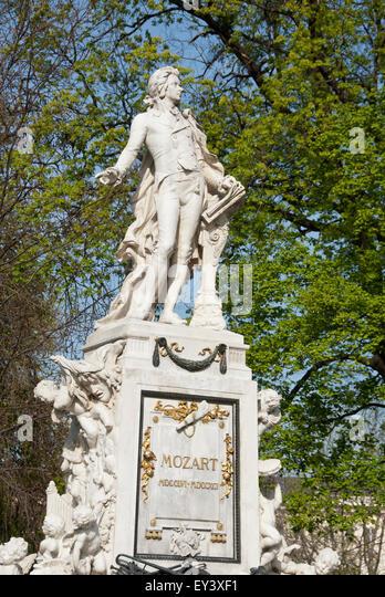 Mozart Memorial Statue, Vienna, Austria in the Burggarten gardens - Stock Image