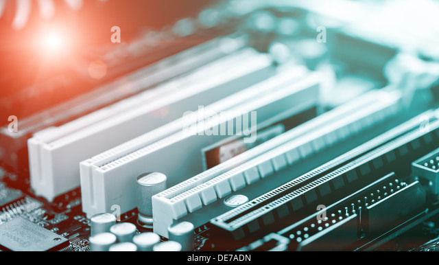 printed circuit board and the red LED - Stock Image