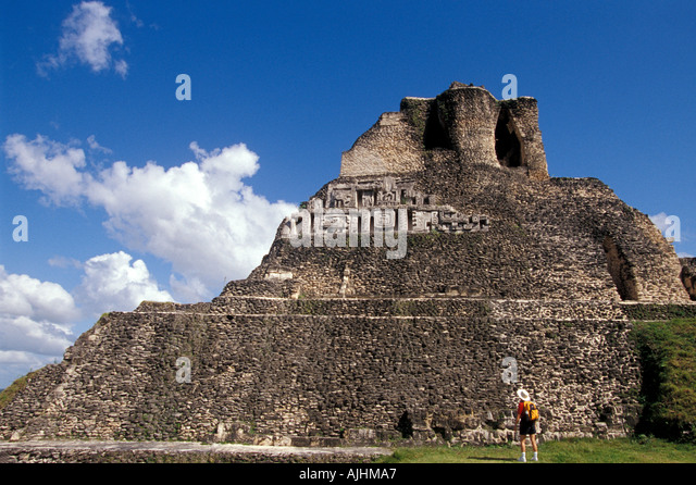 Belize Central America hiking Xunantunich Maya City Ruins main temple pyramid - Stock Image