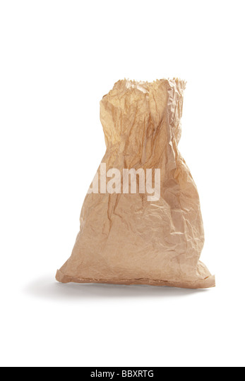 Crumpled Brown Paper Bag - Stock Image