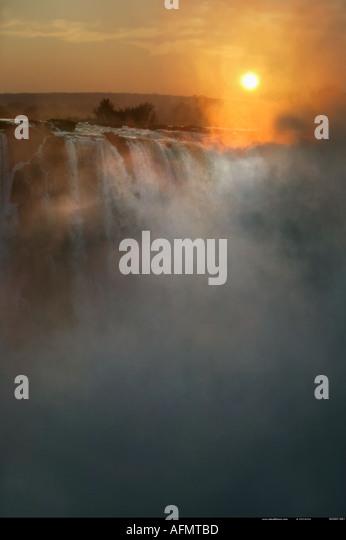 Sunrise over Victoria Falls Zimbabwe - Stock Image