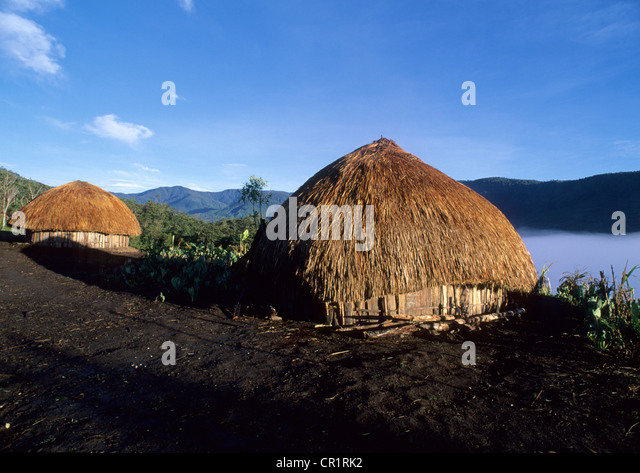 Indonesia, Irian Jaya, Baliem valley , region of Wamena, papou's huts - Stock Image