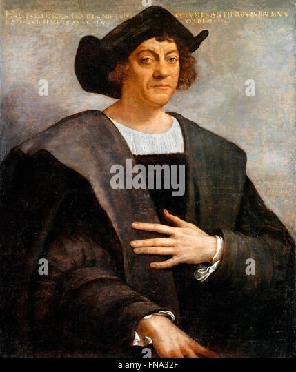 Christopher Columbus. Portrait, said to be of Christopher Columbus, by Sebastiano del Piombo, 1519 - Stock-Bilder