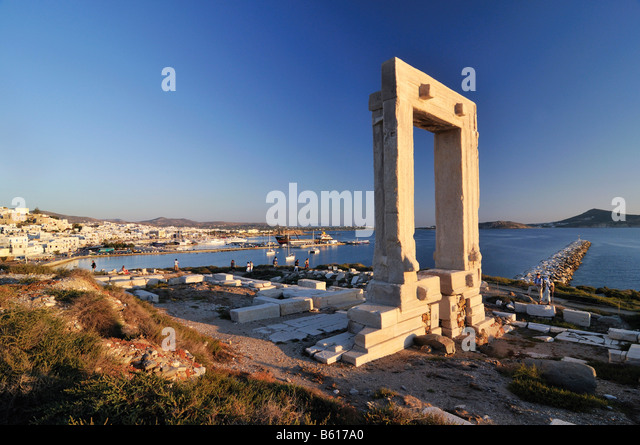 Gateway to antiquity, giant door or Portara of the Temple of Apollo at the town of Naxos, Cyclades Island Group, - Stock Image