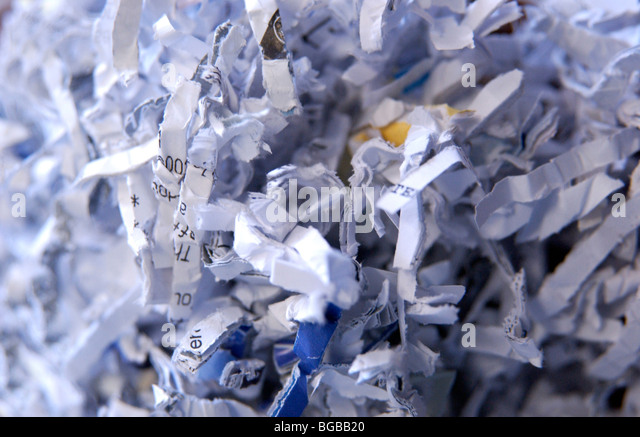 Photograph of shredded paper documents privacy fraud identity - Stock-Bilder