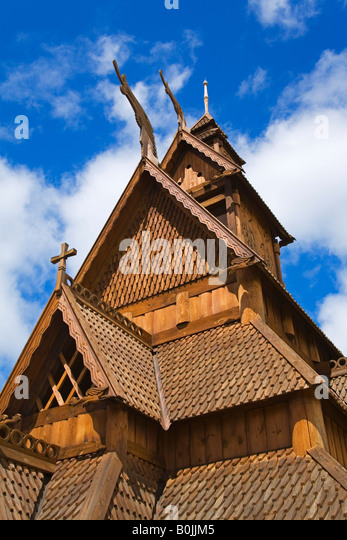 Gol Stave Church Scandinavian Heritage Park Minot North Dakota USA - Stock Image