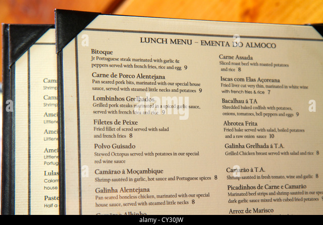 Massachusetts Fall River South Main Street Tabacaria Acoriana T.A. Restaurant Portuguese cuisine lunch menu language - Stock Image