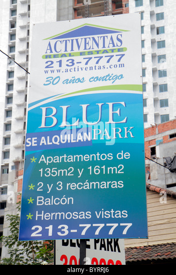 Panama City Panama Bella Vista high-rise building apartment rentals real estate Spanish language sign - Stock Image