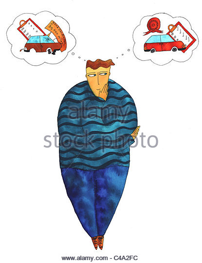Pen and ink illustration of a man thinking about the reasons to make sure his car is road worthy - Stock Image