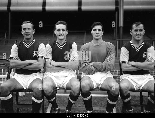 Aston Villa Football Club footballers 1959 Ron Wylie, Vic Crowe, William Beaton, Jackie Sewell - Stock Image
