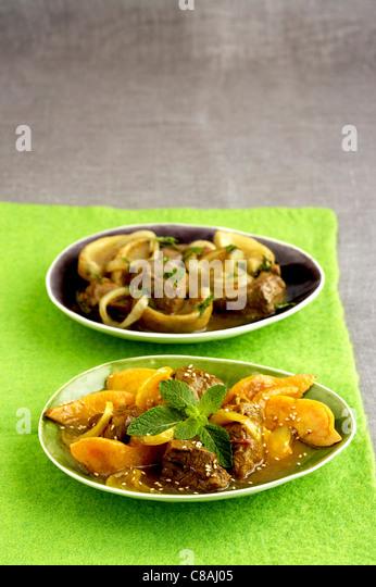 Lamb and quince Tajine,lamb and artichoke Tajine - Stock Image