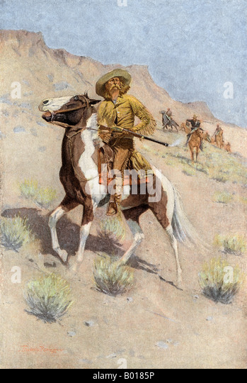 The scout a frontiersman employed by US Army in the opening of the west - Stock Image
