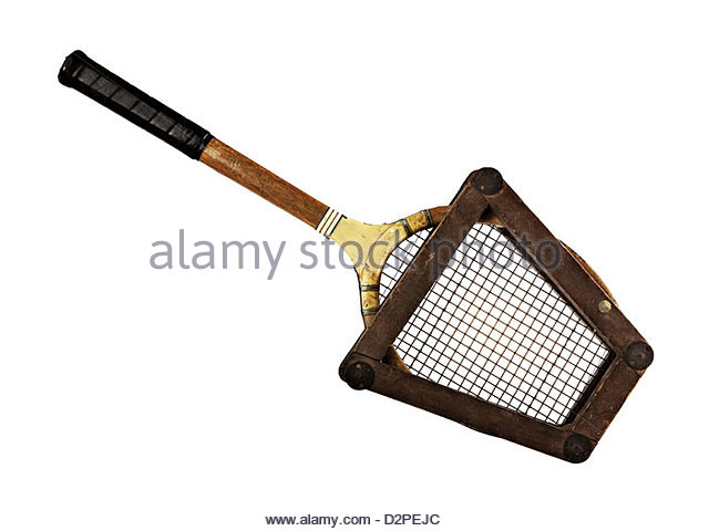 wooden tennis racket in frame - Stock Image