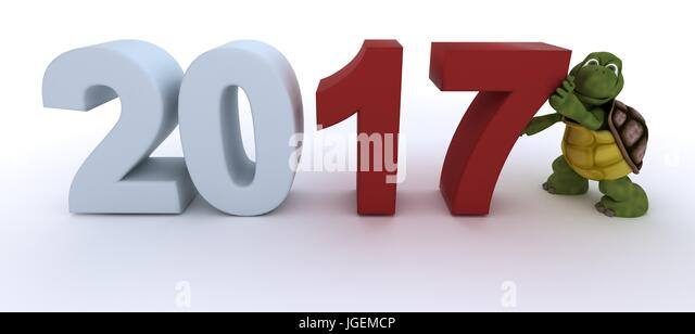 3D render of a tortoise  new year 2017 - Stock Image