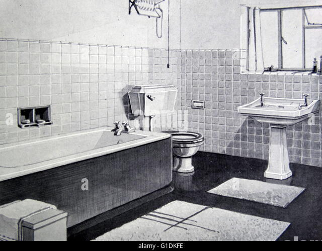 Photograph of a 1950s bathroom - Stock Image