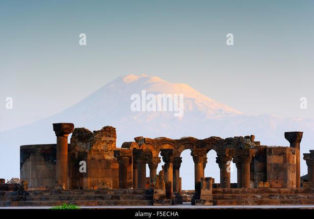 Zvartnots archaeological ruin, UNESCO World Heritage Site, Mount Ararat in Turkey behind, Armenia, Caucasus, Central - Stock Image