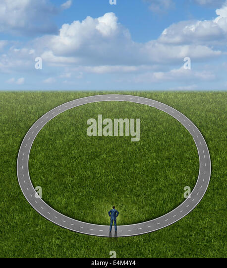 Going in circles and career problems business concept with no change in status as a businessman on a pointless circular - Stock-Bilder