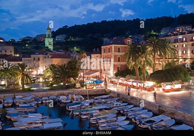 Little harbour of Hvar at dusk, Croatia - Stock Image