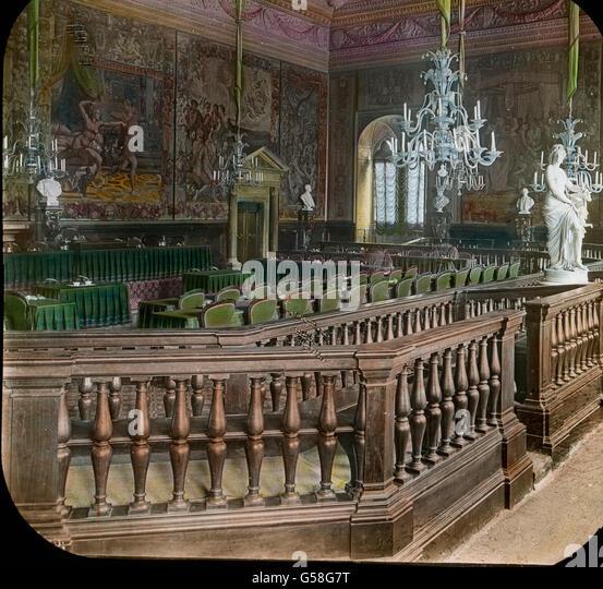 Prächtige Gemälde schildern die Geschichte von Florenz und der es beherrschenden Medici. Die Teppiche - Stock Image