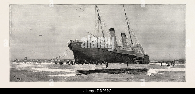THE CHANNEL STEAMER INVICTA STRANDED OUTSIDE CALAIS HARBOUR FRANCE, 1888 engraving - Stock Image