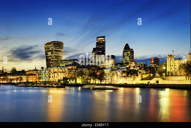 City of London Skyline At Sunset - Stock Image