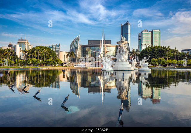 Fuzhou, China cityscape at Wuyi Square Fountain. - Stock-Bilder