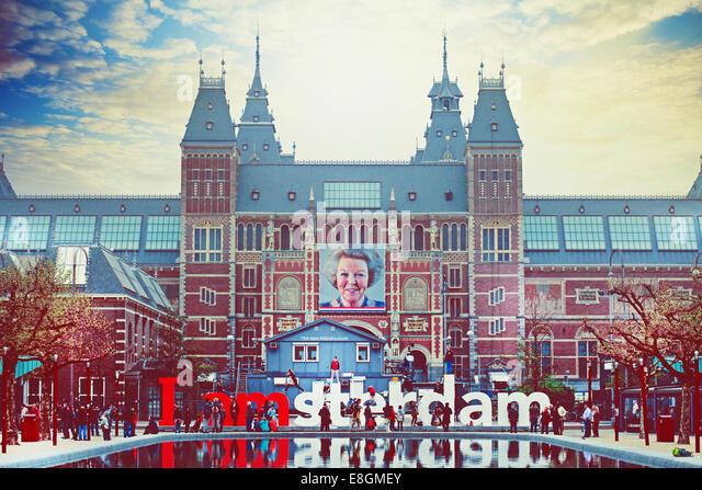 Netherlands, Amsterdam, Front view of Rijksmuseum - Stock Image