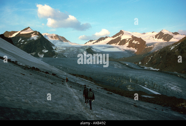 On the Mittelberg glacier, Ötztal Alps, Austria - Stock Image